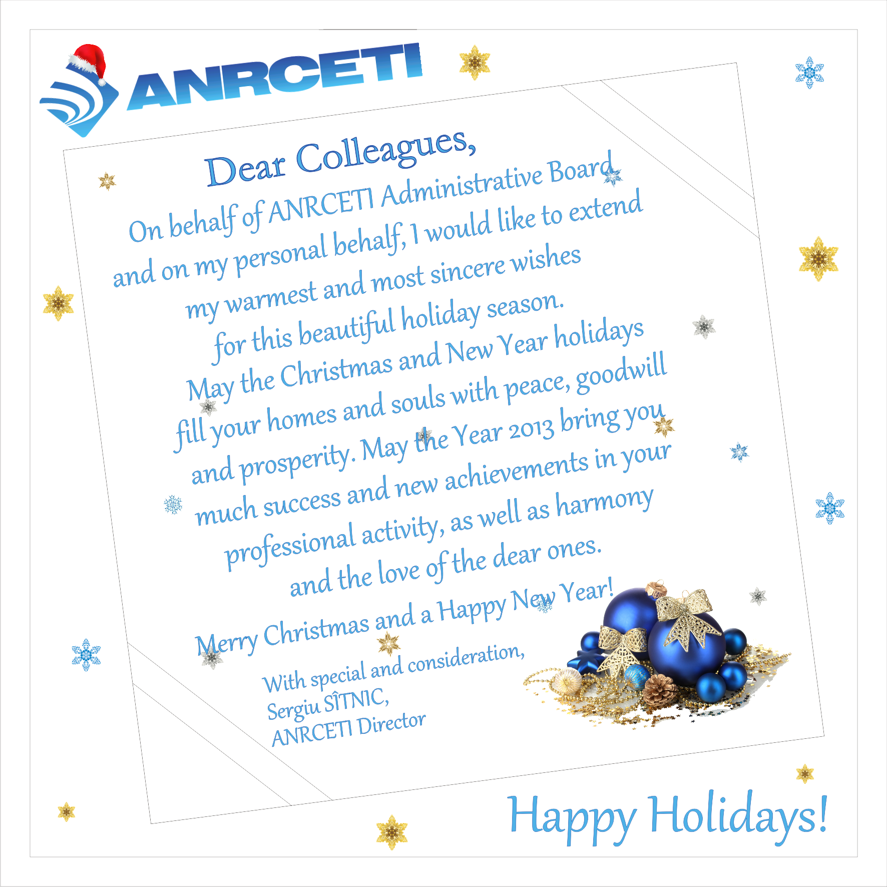 Anrceti management wishing you happy holidays anrceti is conveying a greeting message to anrceti staff partners and to all the employees engaged in electronic communications and information technology kristyandbryce Gallery